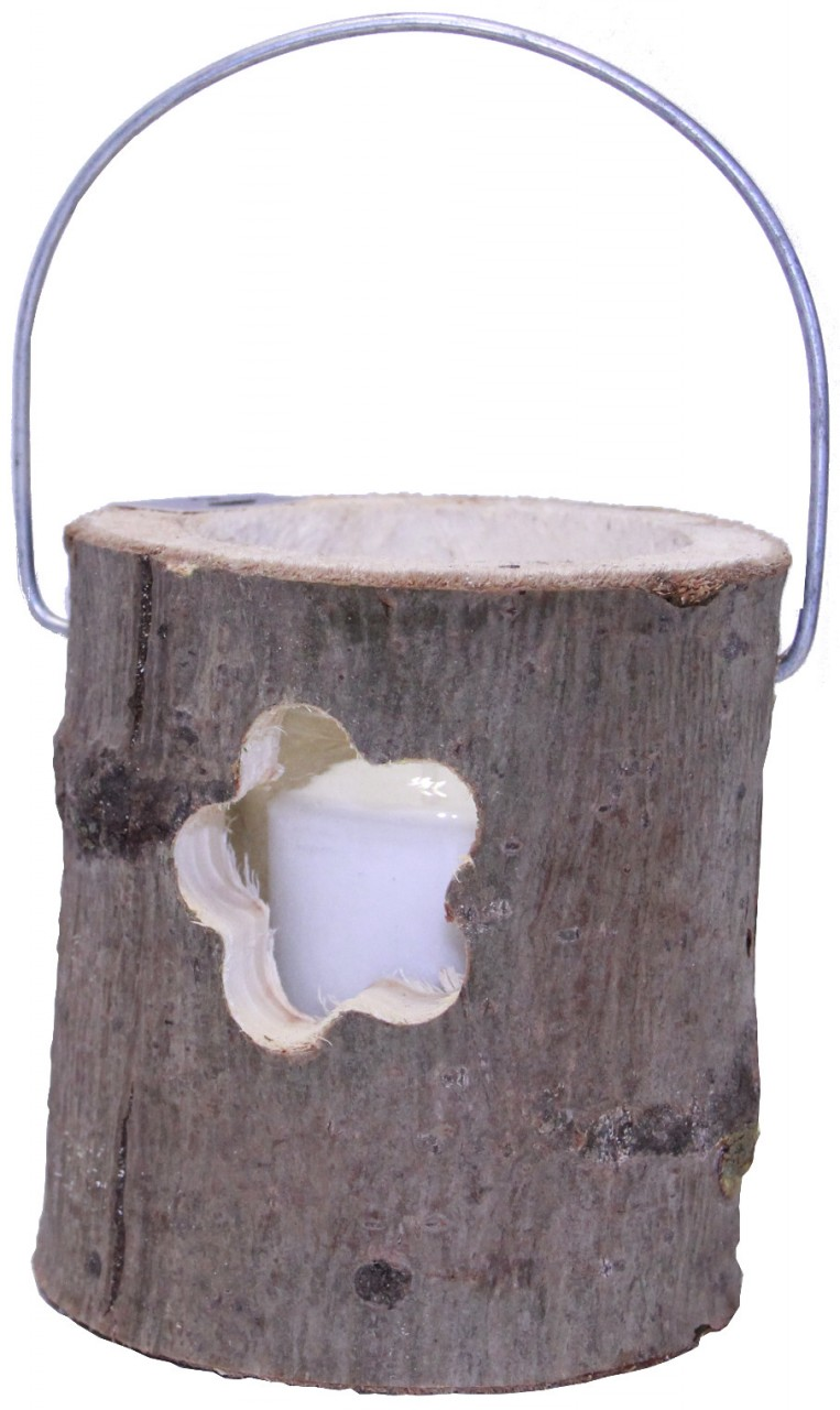 Deko Windlicht Holzstamm Ø 12 cm Glaseinsatz mi...