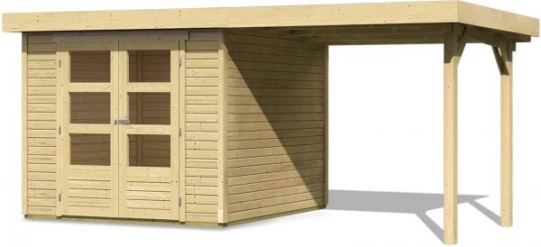 karibu gartenhaus spelle 19 mm 4 92 x 2 37m mit schleppdach ger tehaus flachdach ebay. Black Bedroom Furniture Sets. Home Design Ideas
