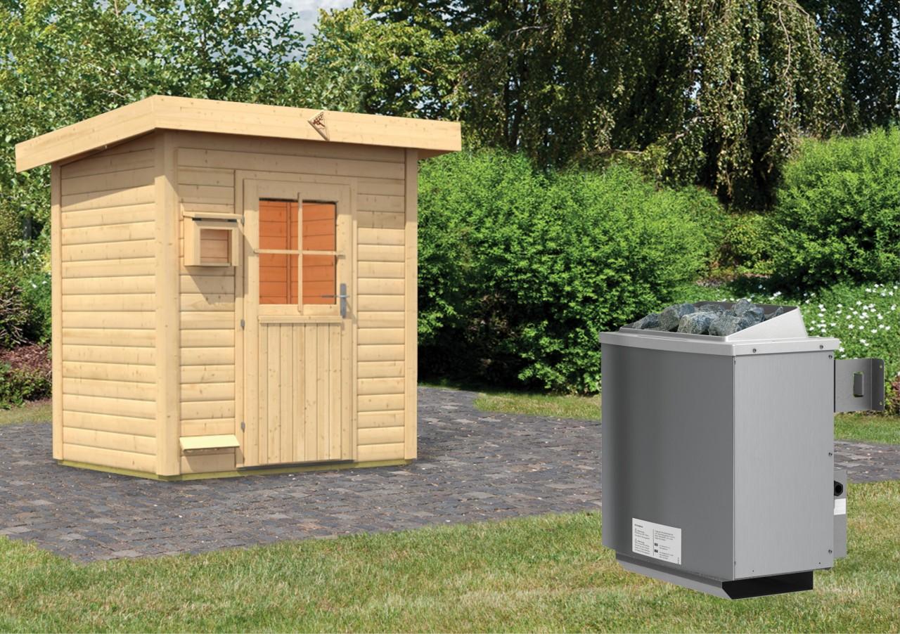 Gartensauna JORGEN 1,96 x 1,46 m 38 mm mit 9 kW Ofen 9.0 kW Ofen integr. Steuerung