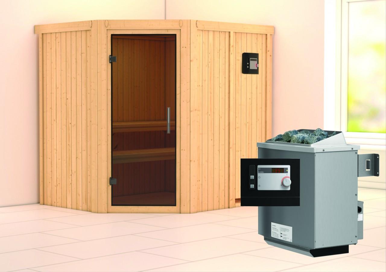 Sauna SIIRIN 1,96 x 1,70 m 68 mm mit 9 kW Ofen 9.0 kW Ofen ext. Steuerung