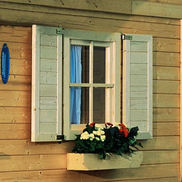Gartenhaus Fensterläden für 28 mm Einzelfenster naturbelassen