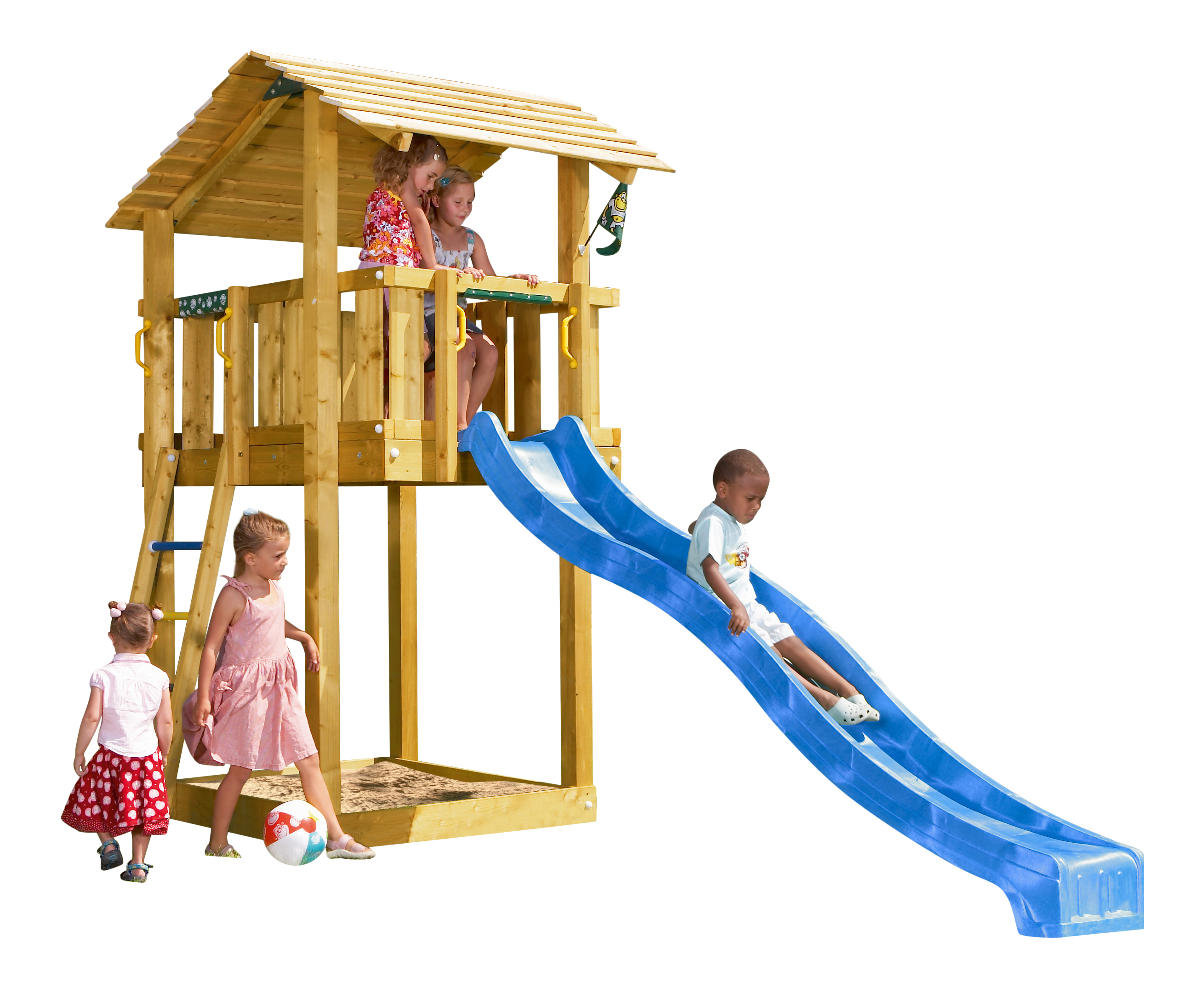 jungle gym spielturm shelter kletterturm mit rutsche holz spielhaus ebay. Black Bedroom Furniture Sets. Home Design Ideas
