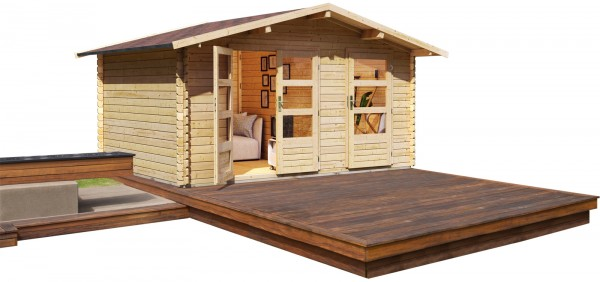 Gartenhaus Blockbohlenhaus RADUR 1 naturbelassen 4,17 x 3,27 m
