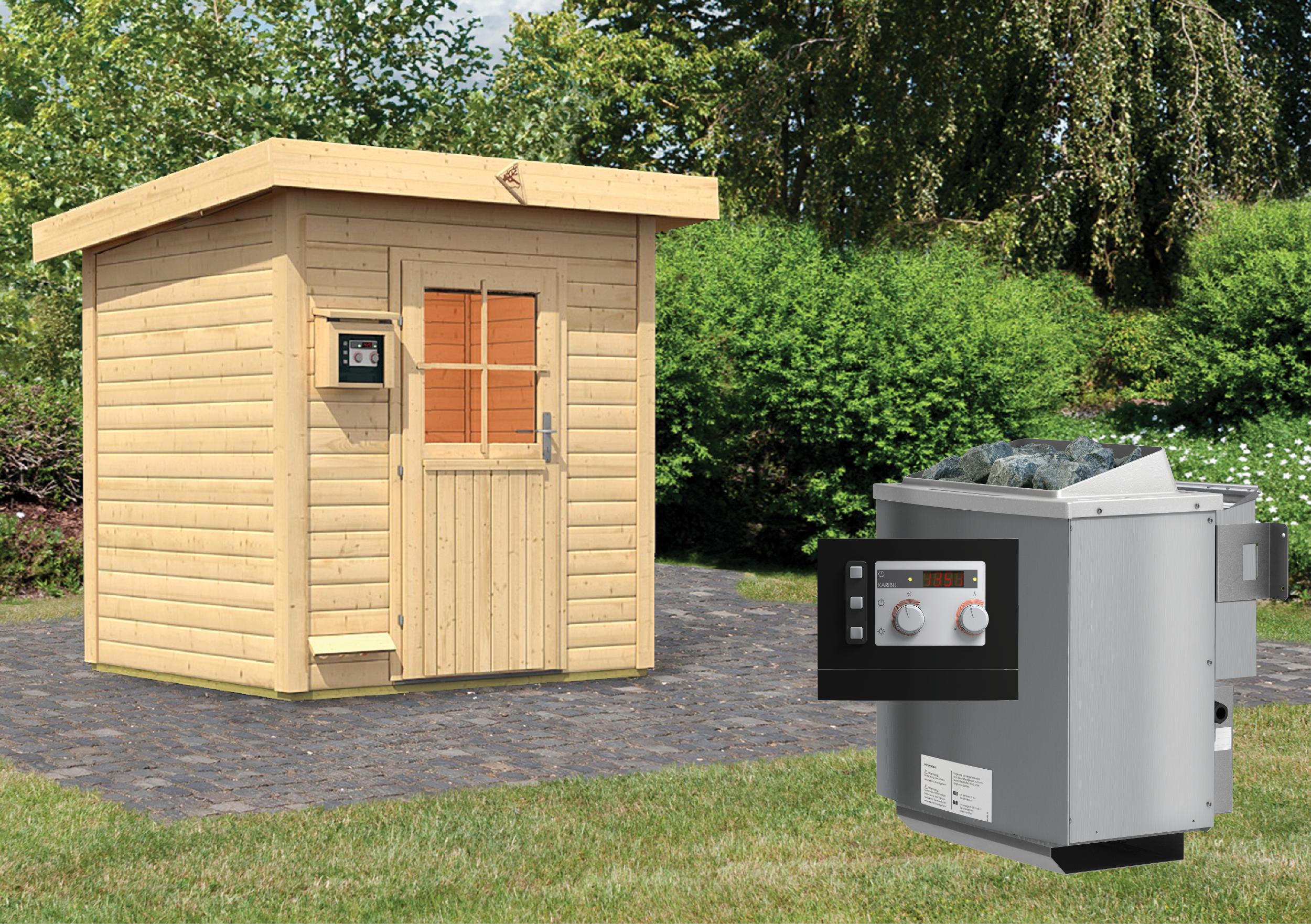 karibu gartensauna haakon 1 96 x 1 70 m 38 mm mit 9 kw ofen saunahaus au ensauna ebay. Black Bedroom Furniture Sets. Home Design Ideas