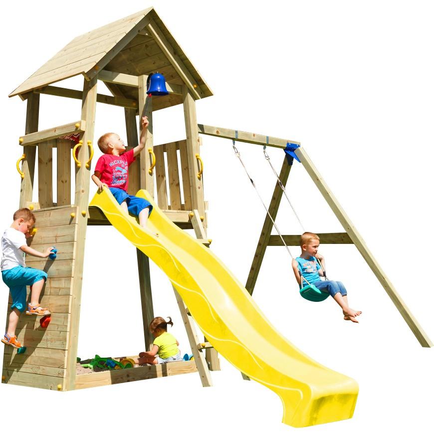 Spielturm BELVEDERE mit Rutsche + Einzelschaukel 2,30 m Gelb