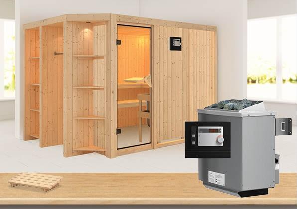 Sauna CARA 2,74 x 1,96 m 68 mm mit 9 kW Ofen 9.0 kW Ofen ext. Steuerung