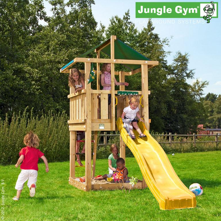 jungle gym spielturm hut kletterturm mit rutsche spielhaus baumhaus holzhaus ebay. Black Bedroom Furniture Sets. Home Design Ideas