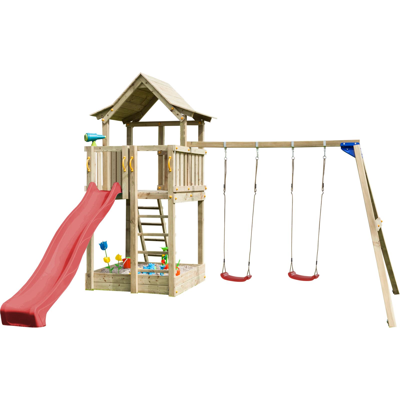 blue rabbit spielturm pagoda mit rutsche 2 90 m. Black Bedroom Furniture Sets. Home Design Ideas