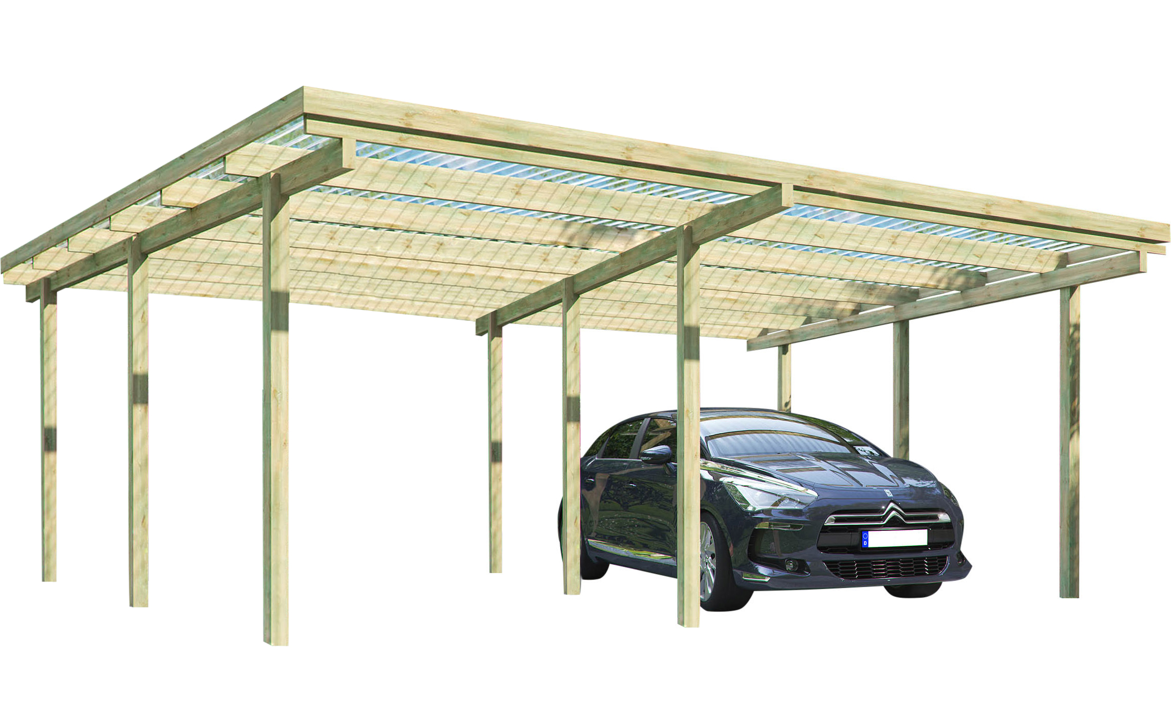 carport elbe 2 doppelcarport 5 81 x 5 10 m carports carports garagen garten freizeit. Black Bedroom Furniture Sets. Home Design Ideas