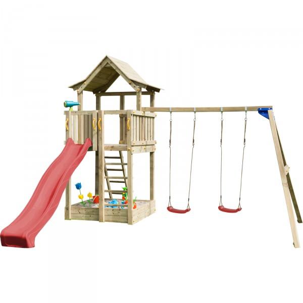 Spielturm PAGODA mit Rutsche + Doppelschaukel