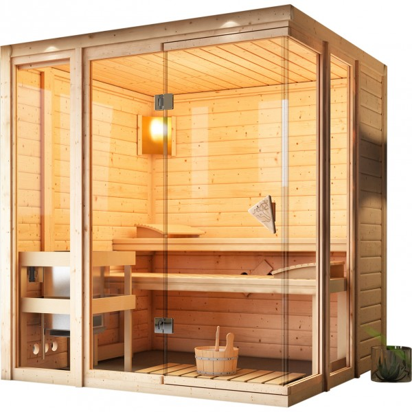 karibu massivholzsauna paavo 1 93 x 1 84 m 40 mm mit 9 kw ofen sauna heimsauna ebay. Black Bedroom Furniture Sets. Home Design Ideas