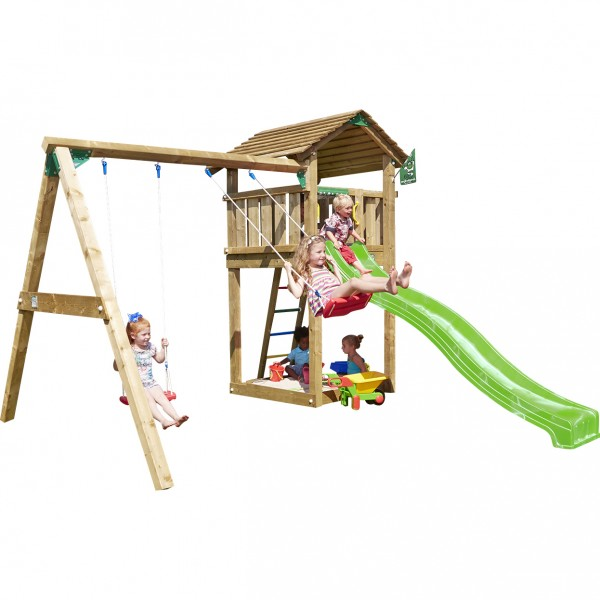 jungle gym lauras cottage spielturm set mit schaukel. Black Bedroom Furniture Sets. Home Design Ideas
