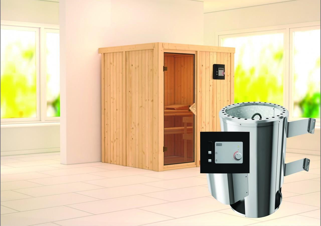 Sauna 230 Volt KAJA 1,75 x 1,52 m 68 mm mit 3,6 kW Ofen 3.6 kW Ofen ext. Steuerung