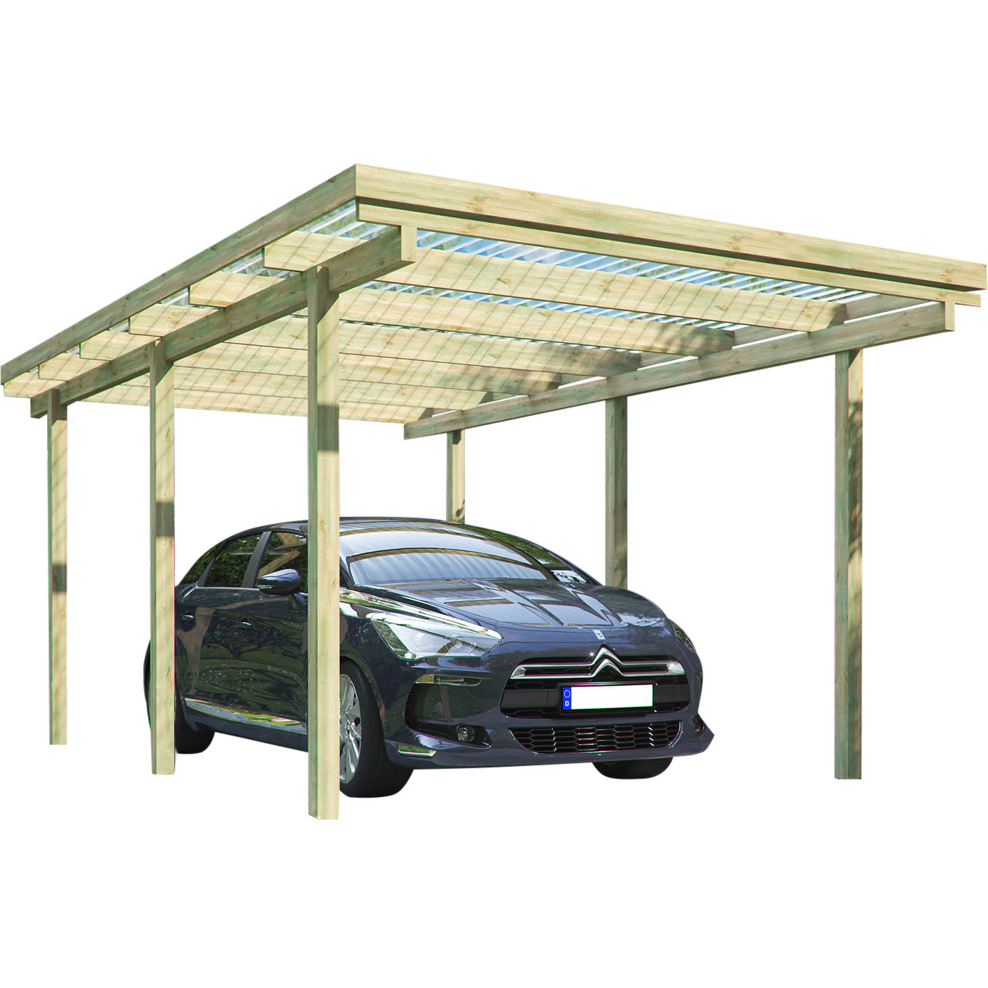 carport elbe 1 einzelcarport 3 04 x 5 10 m carports carports garagen garten freizeit. Black Bedroom Furniture Sets. Home Design Ideas