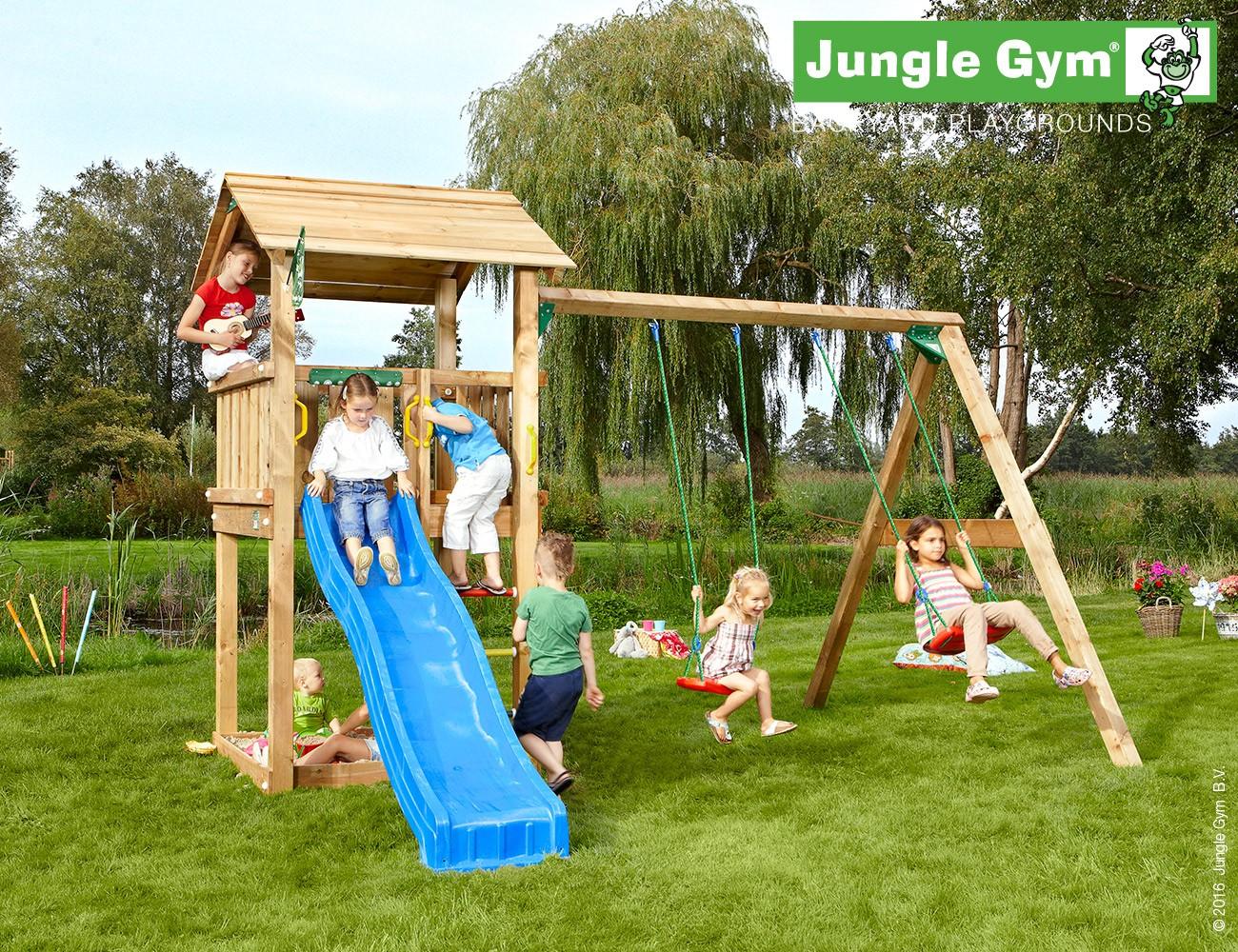 jungle gym jasons casa spielturm set mit schaukel rutsche sandkasten holzturm. Black Bedroom Furniture Sets. Home Design Ideas