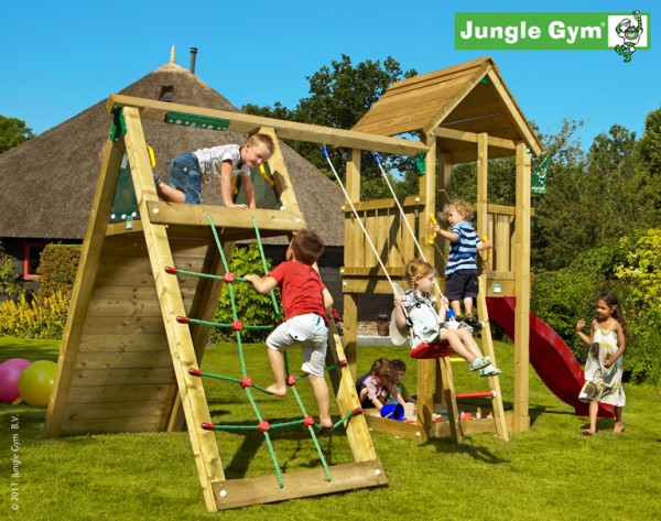 jungle gym jans club spielturm set mit kletterwand. Black Bedroom Furniture Sets. Home Design Ideas