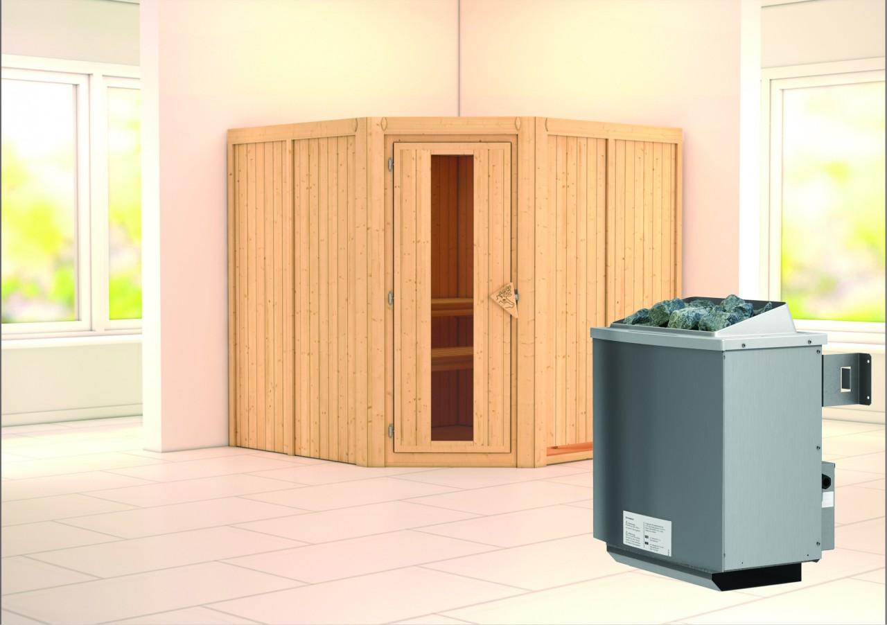 Sauna JARIN 1,96 x 1,96 m 68 mm mit 9 kW Ofen 9.0 kW Ofen integr. Steuerung