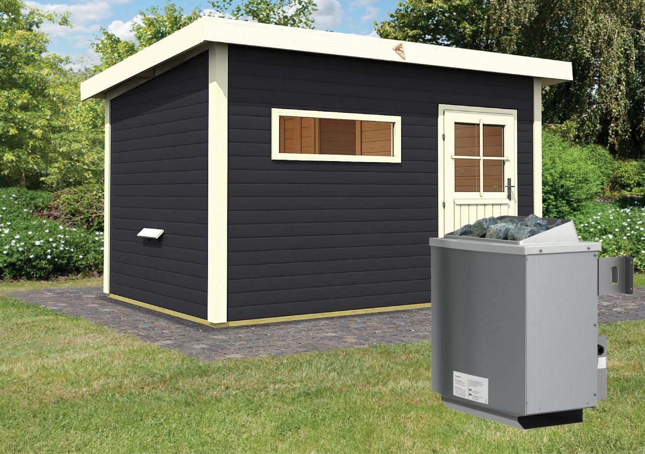Gartensauna SKROLLAN 2 opalgrau 3,37 x 2,31 m 38 mm mit 9 kW Ofen 9.0 kW Ofen integr. Steuerung