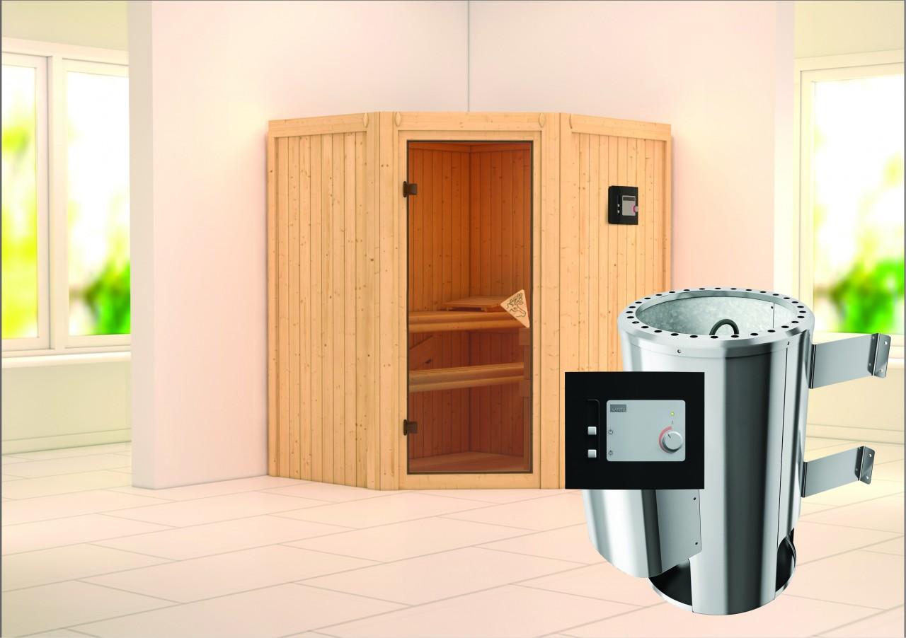 Sauna 230 Volt TONJA 1,75 x 1,52 m 68 mm mit 3,6 kW Ofen 3.6 kW Ofen ext. Steuerung