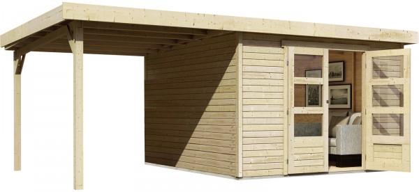 Gartenhaus Flachdachhaus ASKOLA 6 mit Schleppdach naturbelassen 3,02 x 3,06 m