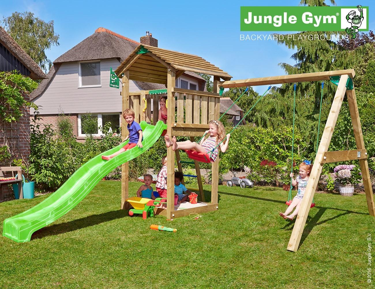 jungle gym lauras cottage spielturm set mit schaukel. Black Bedroom Furniture Sets. Home Design Ideas