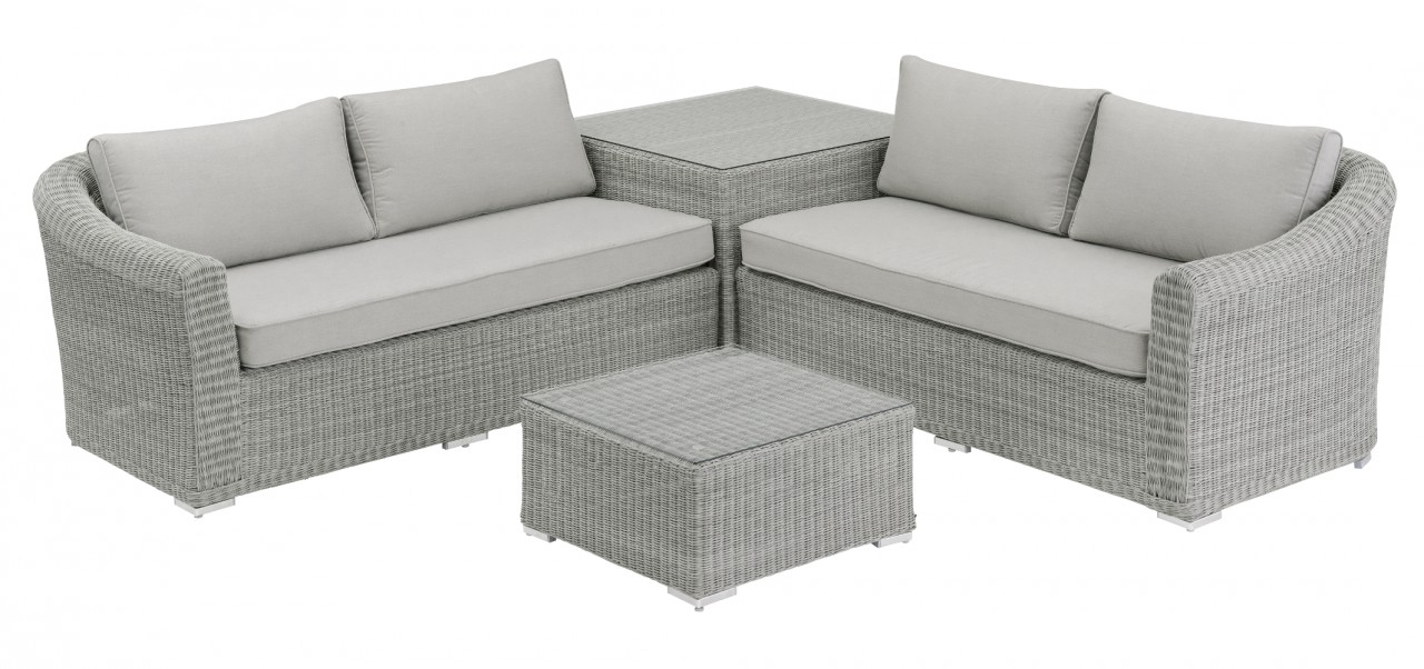 Loungegruppe OXFORD inkl. Kissen white-wash