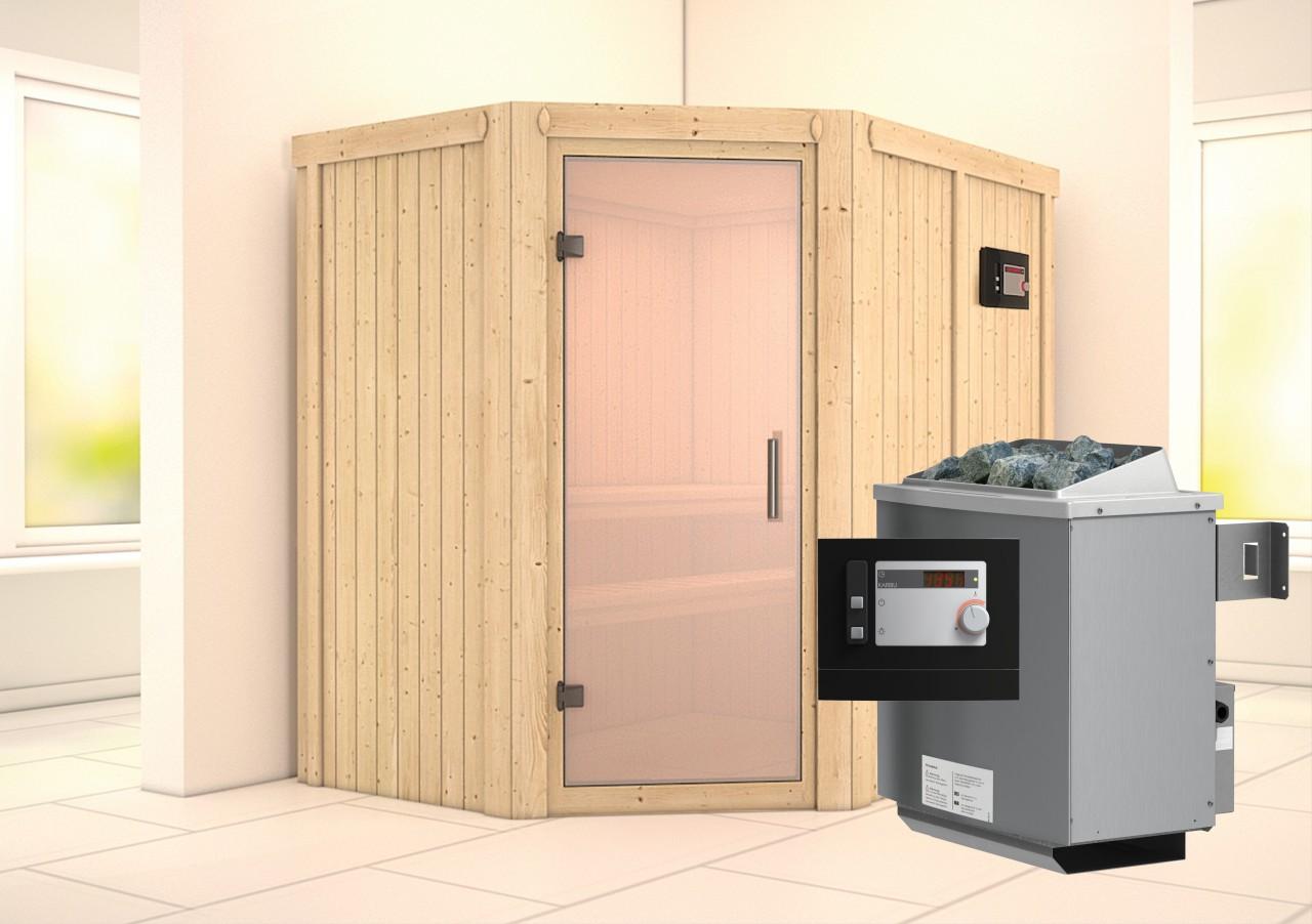 Sauna CARIN 1,52 x 1,96 m 68 mm mit 9 kW Ofen 9.0 kW Ofen ext. Steuerung