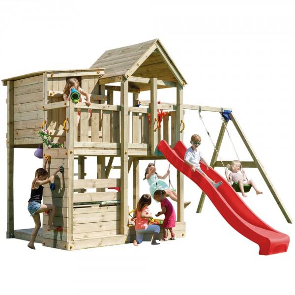 Spielturm PALAZZO mit Rutsche + Doppelschaukel