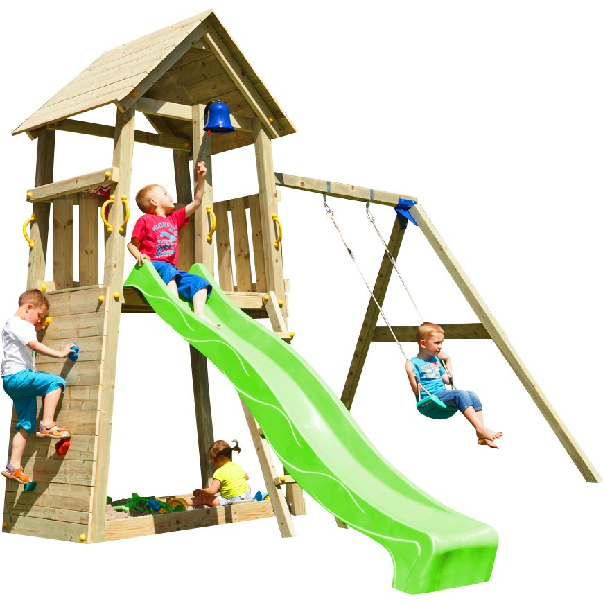Spielturm BELVEDERE mit Rutsche + Einzelschaukel 2,90 m Grün