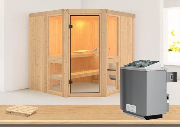 Sauna AMELIA 2 1,96 x 1,96 m 68 mm mit 9 kW Ofen 9.0 kW Ofen integr. Steuerung