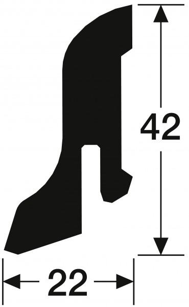 Steck-Sockelleiste 22 42 mm für Laminatböden Jatoba 2203