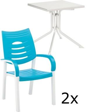 Gartenmöbel Set HAPPY weiß/türkis 3-tlg.