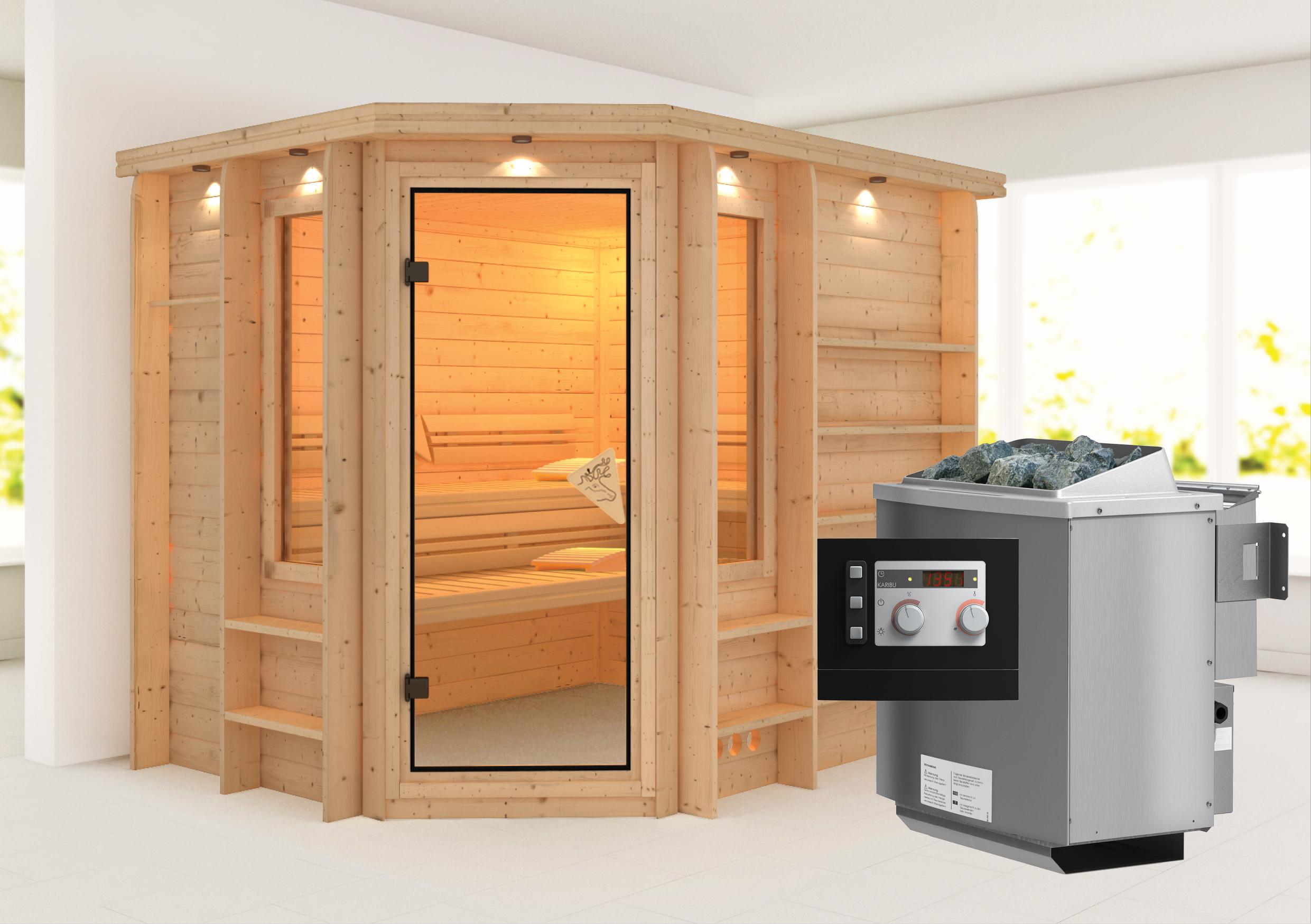 karibu massivholzsauna riona 2 62 x 1 98 m 40 mm mit 9 kw ofen sauna heimsauna ebay. Black Bedroom Furniture Sets. Home Design Ideas