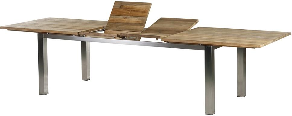 Gartentisch Ausziehtisch LEVANTO Edelstahl/Recycled Teak 220 - 320 cm eckig