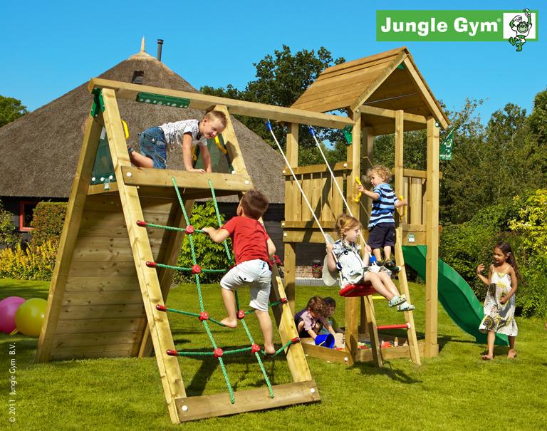 jungle gym jans club spielturm set mit kletterwand rutsche schaukel holzturm ebay. Black Bedroom Furniture Sets. Home Design Ideas