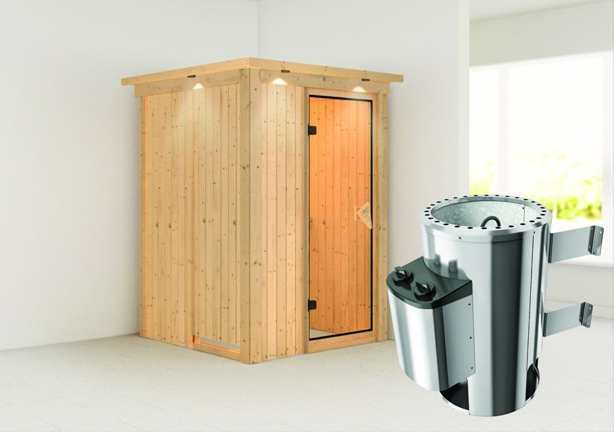Sauna LENJA 1,20 x 2,00 m - 3.6 kW Ofen integr. Steuerung mit Dachkranz