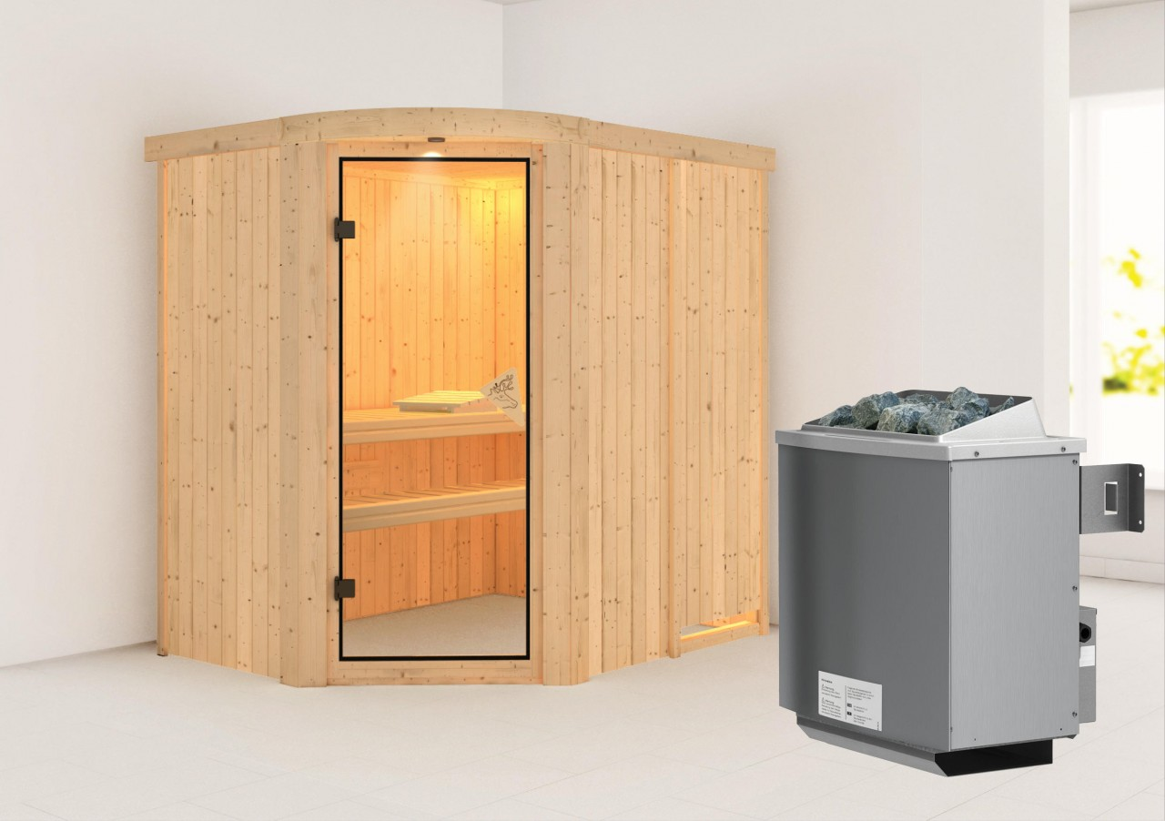 Sauna LAVEA 1,96 x 1,52 m 68 mm mit 9 kW Ofen 9.0 kW Ofen integr. Steuerung