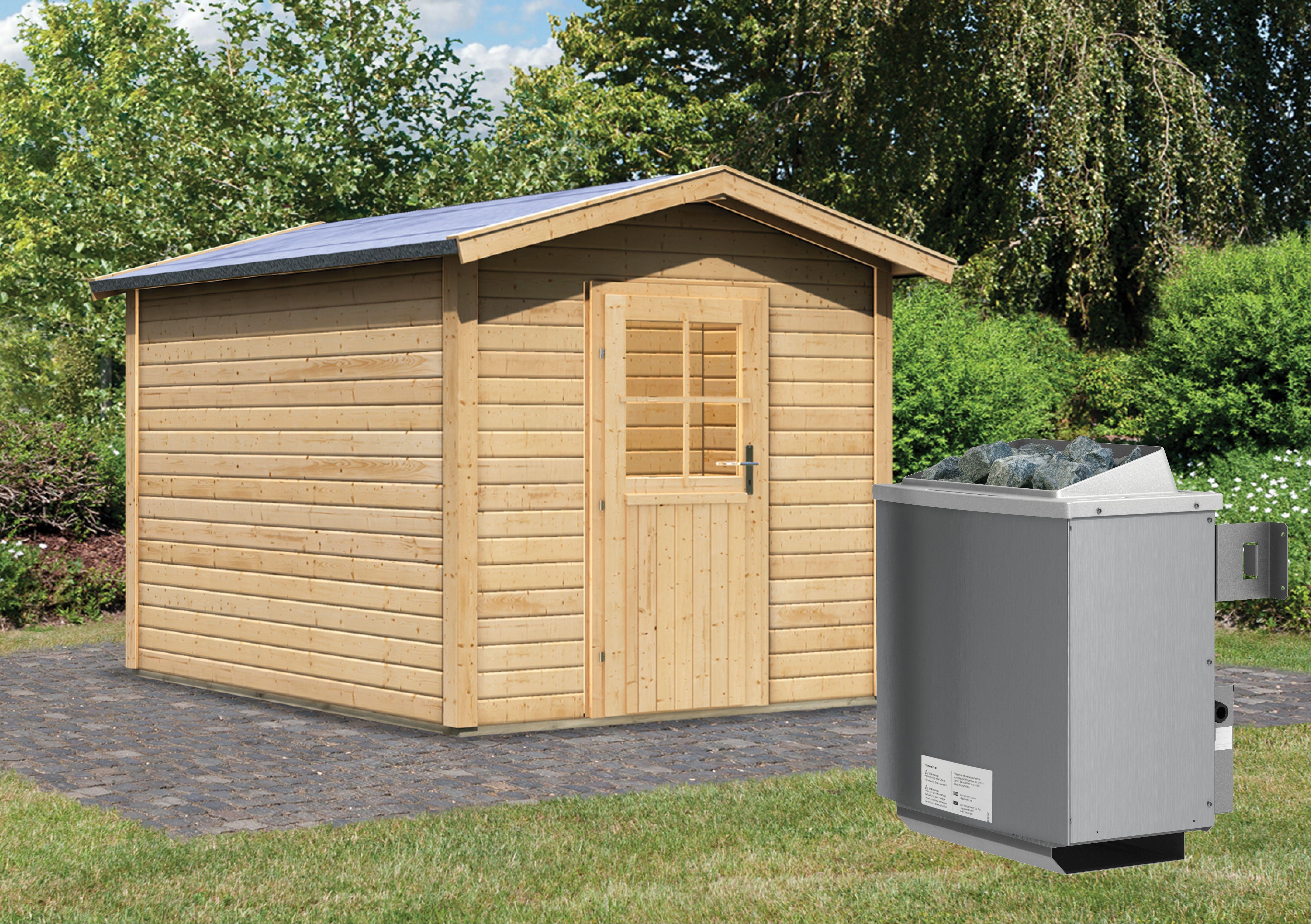 karibu gartensauna bosse 2 mit vorraum 2 31 x 3 99 m 38 mm mit 9 kw ofen sauna ebay. Black Bedroom Furniture Sets. Home Design Ideas