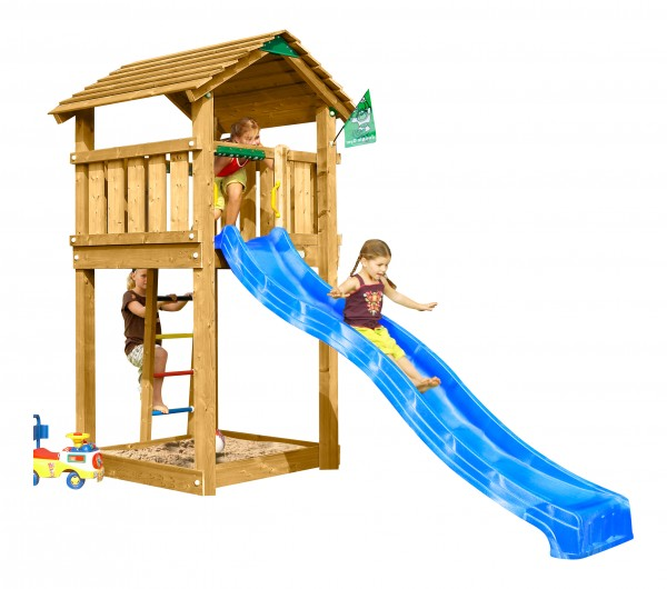 jungle gym spielturm cottage kletterturm mit rutsche. Black Bedroom Furniture Sets. Home Design Ideas