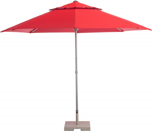 EASY-LIFT Mittelmastschirm Ø 330 cm silber/rot