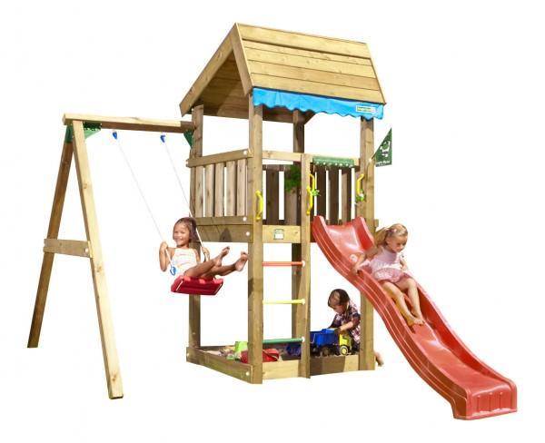 Turbo Jungle Gym Sinas HOME - Spielturm Set mit Einzelschaukel Rutsche  RY06