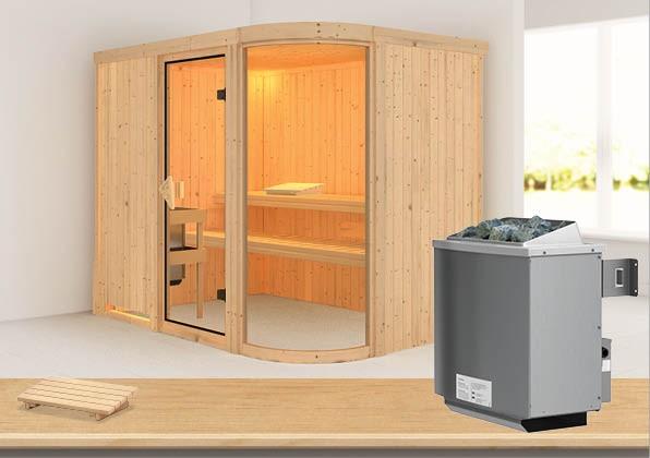 Sauna PARIMA 4 2,31 x 1,70 m 68 mm mit 9 kW Ofen 9.0 kW Ofen integr. Steuerung