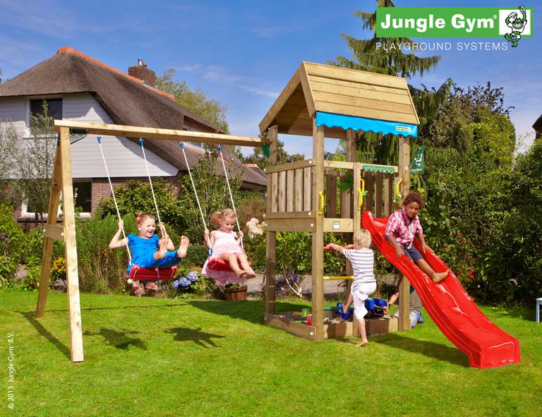 jungle gym lottas home spielturm set mit schaukel. Black Bedroom Furniture Sets. Home Design Ideas