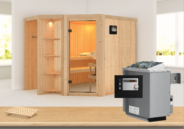 Sauna YARO 2,39 x 1,96 m 68 mm mit 9 kW Ofen 9.0 kW Ofen ext. Steuerung