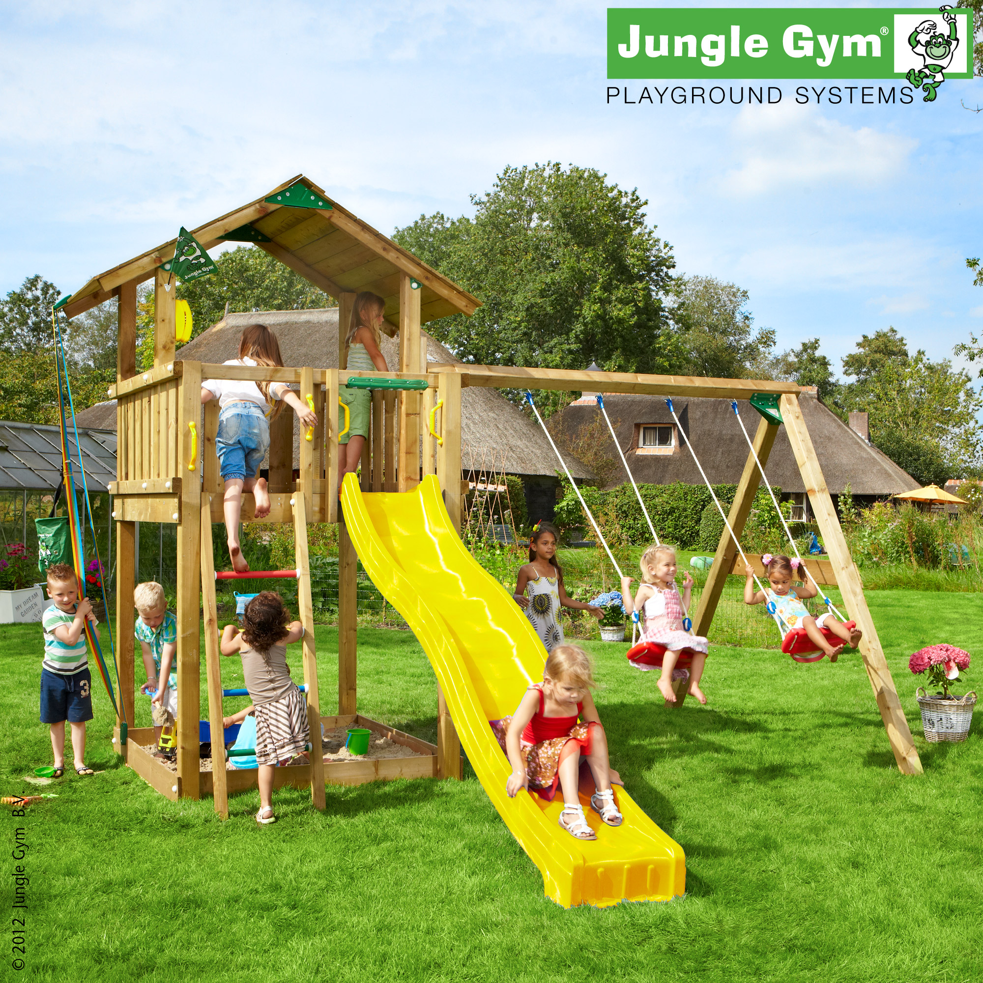 jungle gym hannas chalet spielturm set mit schaukel rutsche leiter holzturm ebay. Black Bedroom Furniture Sets. Home Design Ideas