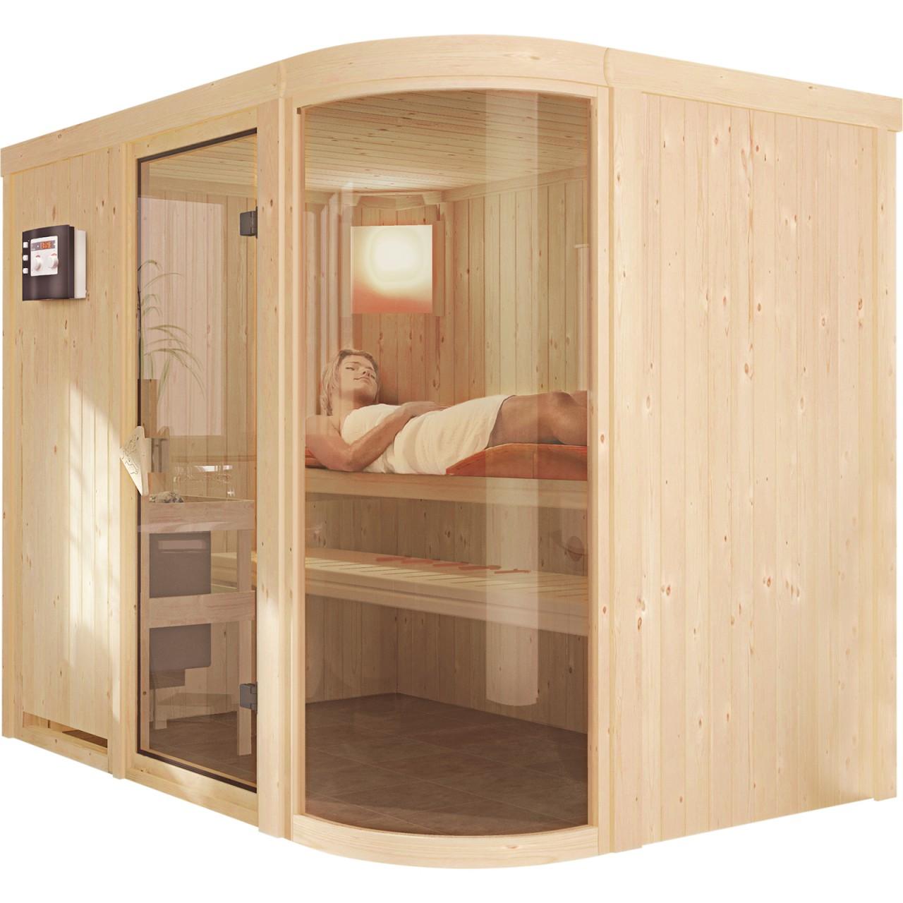 Sauna PARIMA 4 2,31 x 1,70 m 68 mm mit 9 kW Ofen 9.0 kW Bio-Kombiofen ext. Steuerung