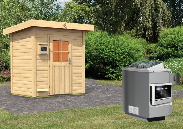 karibu gartensauna jorgen 1 96 x 1 46 m 38 mm mit 9 kw ofen saunahaus au ensauna ebay. Black Bedroom Furniture Sets. Home Design Ideas