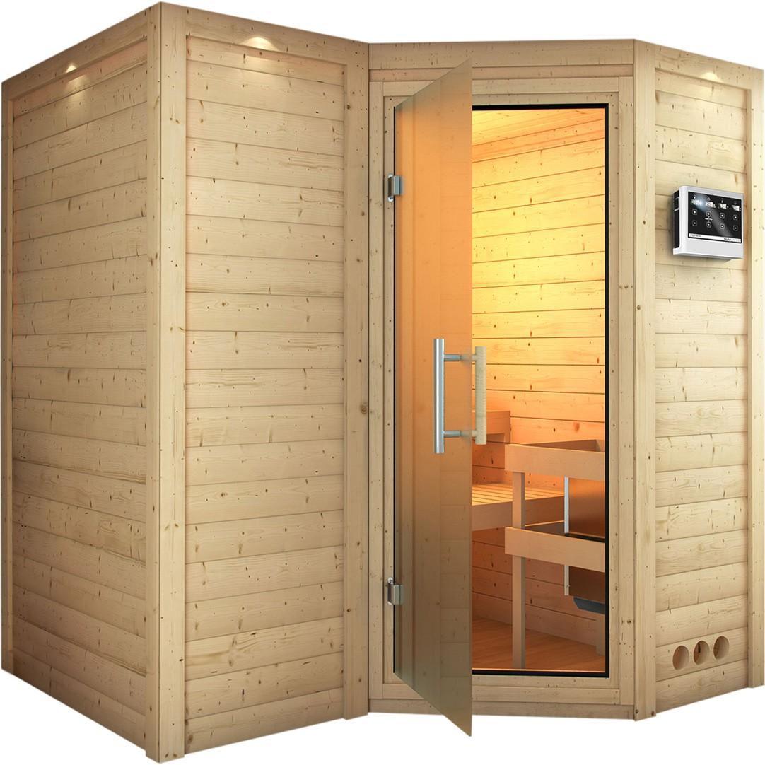 Sauna SAHIB 1,93 x 1,84 m ohne Ofen ohne Dachkranz Energiespartü bei Demmelhuber Holz & Raum