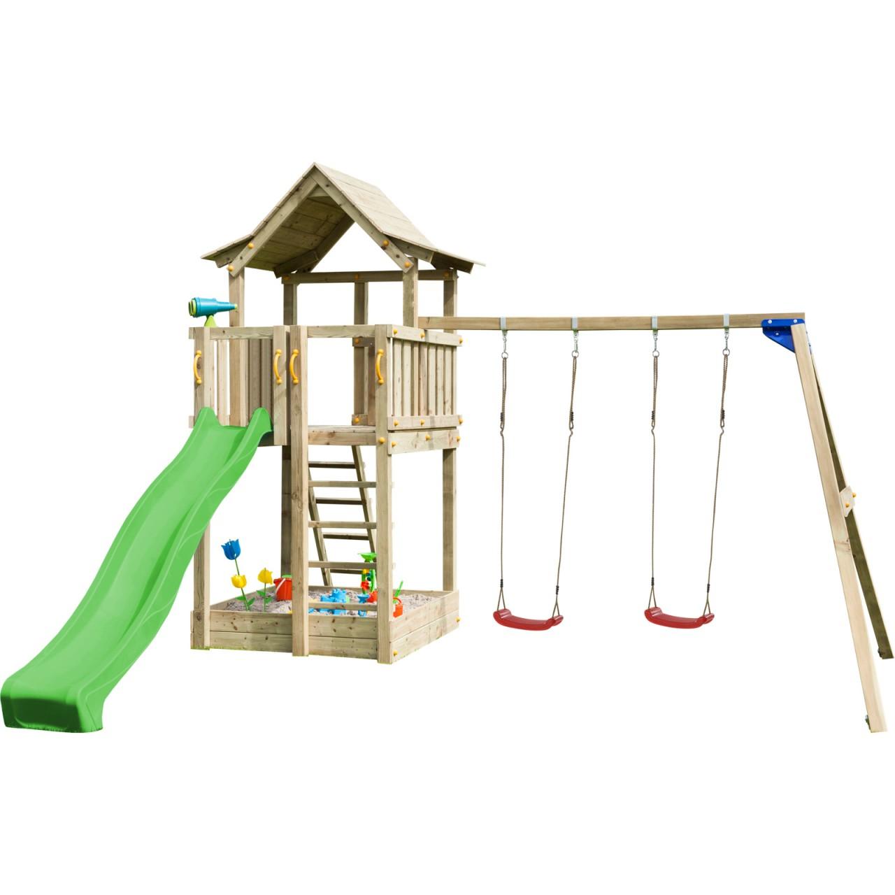 Blue Rabbit  Spielturm PAGODA mit Rutsche + Doppelschaukel   DH738
