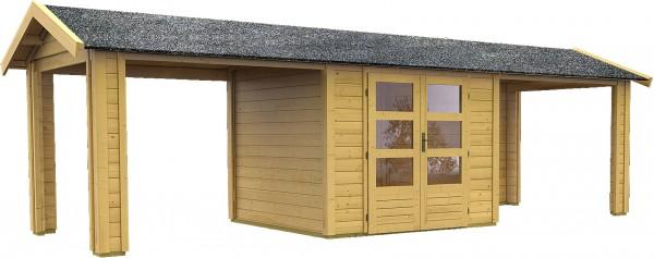 Gartenhaus Gartenlaube THOR 3 mit 2 Dachausbauelementen naturbelassen